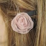 Barrette fleur rose
