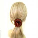 élastique cheveux fleur orange