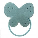 élastique à cheveux papillon bleu