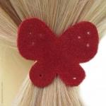 élastique pour cheveux papillon rouge