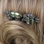 peigne à cheveux vert métal et pierres