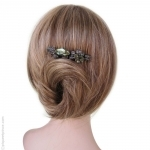 peigne cheveux vert métal et pierres