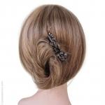peigne cheveux noir métal et pierres