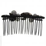 peigne pour cheveux noir métal et pierres