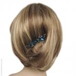 peigne à cheveux bleu métal et pierres