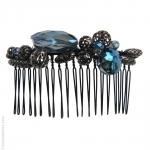 peigne cheveux bleu métal et pierres