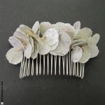 peigne à cheveux  pétales argent