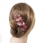 peigne cheveux  pétales rose et argent