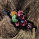 barrette à cheveux perles multicolores