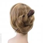 pic cheveux bois incrustation métal