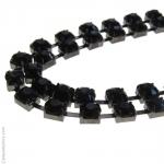 Headband strass noirs double