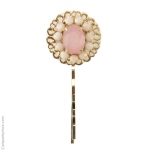 Barrette rose et or