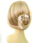épingles à chignon fleurs blanches