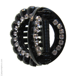 petite pince strass ronde noire