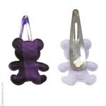Barrettes enfant oursons violet