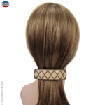 barrette cheveux taupe, beige et strass
