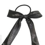 élastique à cheveux noeud tissu noir lamé argent