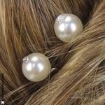 Épingle cheveux perle blanche et strass