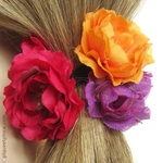 élastique pour cheveux fleurs couleurs