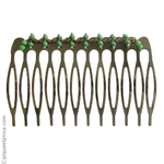 Peigne métal et perles vertes