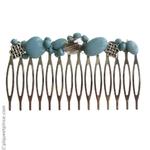 Peigne métal perles bleues