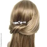 Peigne métal et perles blanches