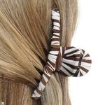 accessoire cheveux tissu rayé marron