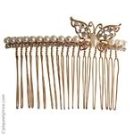 peigne chignon de mariage et papillon métal doré