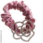 élastique cheveux soirée rose et camélia strass