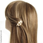 barrette cheveux feuille or