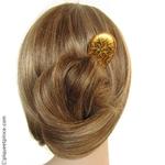 pic cheveux en bois peint doré