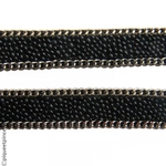 headband chaine et petites perles noires