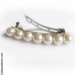 Barrette grosses perles blanche pour mariée