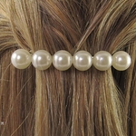 Accessoire cheveux  grosses perles blanches