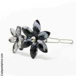 bijou de tête fleur strass et verre fumé