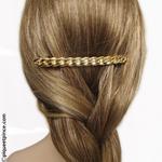 Barrette cheveux gourmette .or