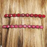 Barrettes cheveux fines rouge ou rose