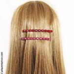 Fines barrettes cheveux rouge ou rose