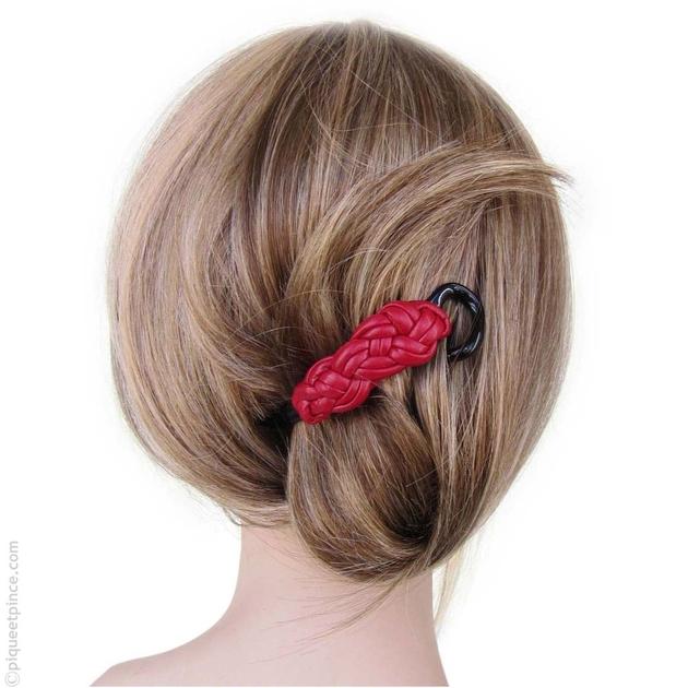 barrette cheveux accessoire cheveux rouge cuir tress. Black Bedroom Furniture Sets. Home Design Ideas