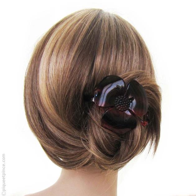 barrette cheveux accessoire cheveux fleur caille. Black Bedroom Furniture Sets. Home Design Ideas