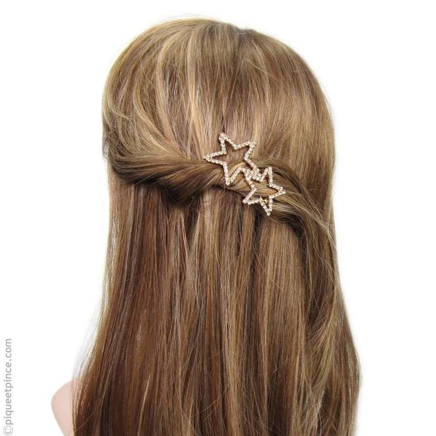 magasin britannique acheter de nouveaux quantité limitée Barrette cheveux strass étoiles dorées