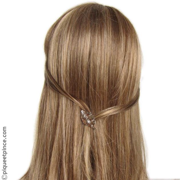 Accessoire cheveux feuille métal argenté