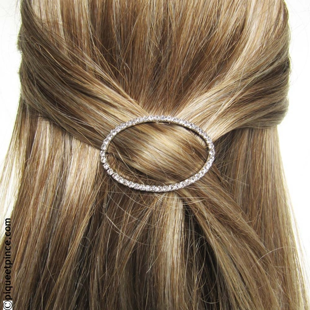 barrette cheveux accessoire cheveux strass ovale. Black Bedroom Furniture Sets. Home Design Ideas