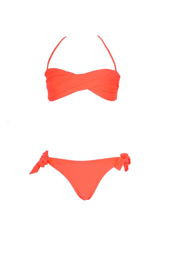 62b1d40db064 Traje de baño barato niña bandeau twist Coral - Monpetitbikini