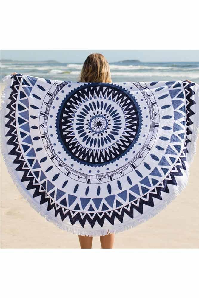 Toalla de playa redonda estampado tnico azul monpetitbikini - Toallas redondas de playa ...