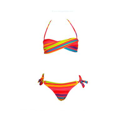 Bikini bandeau niña con rayas fluorescentes multicolores