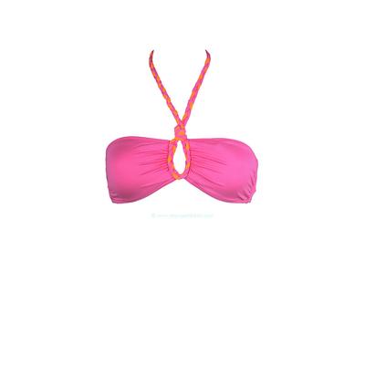 Livia - Top de traje de baño bandeau rosa con trenzas Sortilege