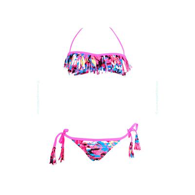 Bikini niña con flecos, color rosa y estampado multicolor