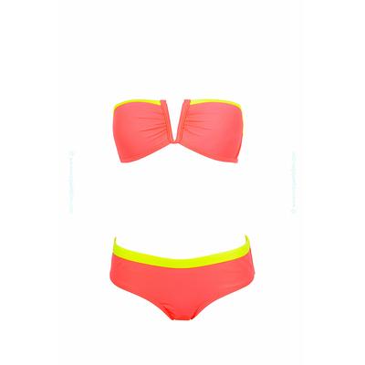 Bikini bandeau coral y amarillo flúo con escote en V