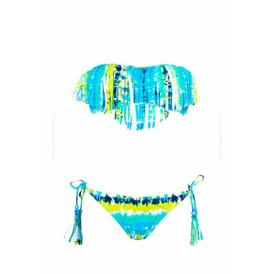 Bikini bandeau con flecos azul multicolor tie & dye
